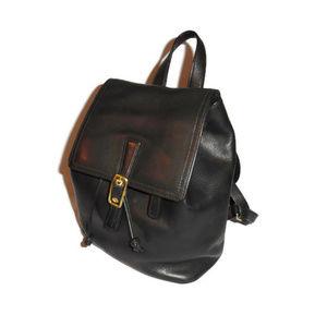 Vintage Coach Black Leather Backpack Drawstring